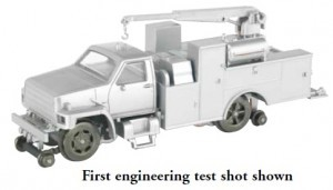 Hi Rail Equipment Truck with Crane White DCC (HO)