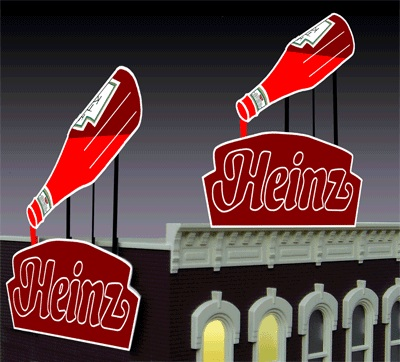 N/HO Small Heinz Ketchup Billboard (Animated Neon Style Sign Kit)