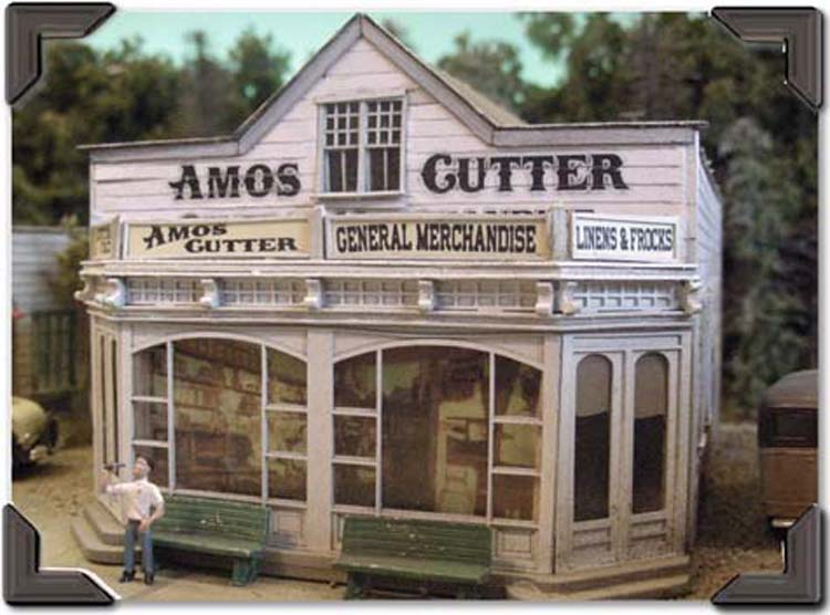 Amos Cutters General Store (HO-O), Bar Mills Model Railroad Accessories Item Number BAR504