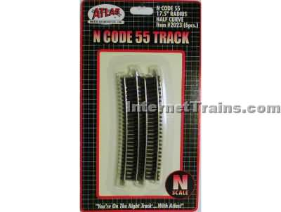 C55 1/2 17.5 Radius 6pc N Scale, Atlas Ho Model Trains Item Number ATL2023