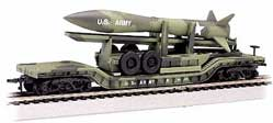 52 Flatcar Olive Drab Military w/Missile (N), Bachmann Model Trains Item Number BAC71396