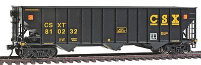 100-Ton 3-Bay Hopper - Ready To Run -- Csx #810232 Black, Yellow, Ease Up Logo (Ho), Bowser Model Trains Item Number BOW40643