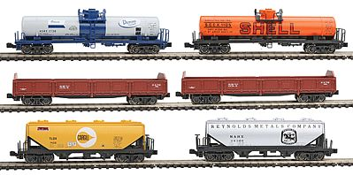 6-Car Mixed Freight Train N, Kato Precision Railroad Models Item Number KAT1066275
