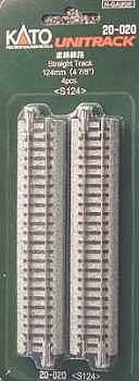 124mm Straight Track 4pk N, Kato Precision Railroad Models Item Number KAT20020