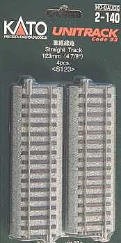 123mm 4 7/8 Straight Track HO, Kato Precision Railroad Models Item Number KAT2140