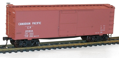 36 Double Sheathed Box Car with Metal Ends Kit, Canadian Pacific #215834, Accurail Model Trains Item Number ACU1304