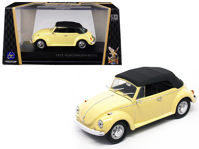 1972 Volkswagen Beetle Closed Top Yellow 1/43 Diecast Model Car by Road Signature