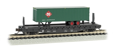 N 526flat Car W/Piggy B&O, Bachmann Model Trains Item Number BAC16752