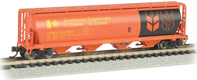 N Gov. Of Canada 4 Bay Cylindrical Grain Hopper (red), Bachmann Model Trains Item Number BAC19154