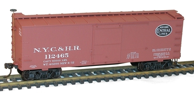 36 Double Sheathed Box Car Kit with Wood Ends, New York Central and Hudson River, Accurail Model Trains Item Number ACU1701