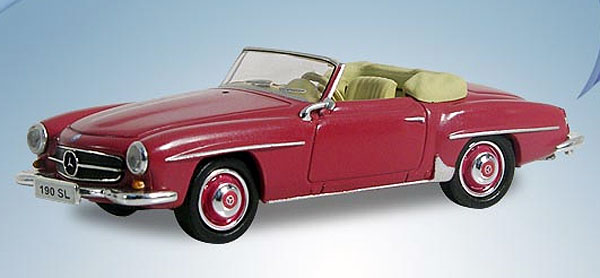 Mercedes-Benz 190 SL in Strawberry Red - Top Down (1:87), RICKO Item Number RICKO38093