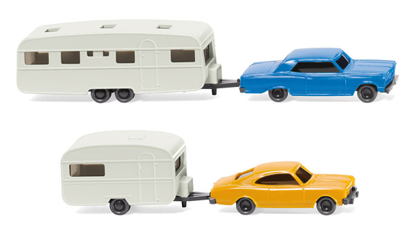 Camping Caravan Set - Chevrolet Malibu with RV and Opel Rekord with RV (1:160), WIKING, Item Number WIK092209
