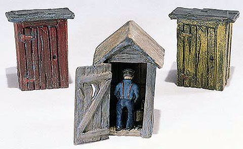 3 Outhouses and Man (1:87, HO), Woodland Scenic Item Number WOOD214