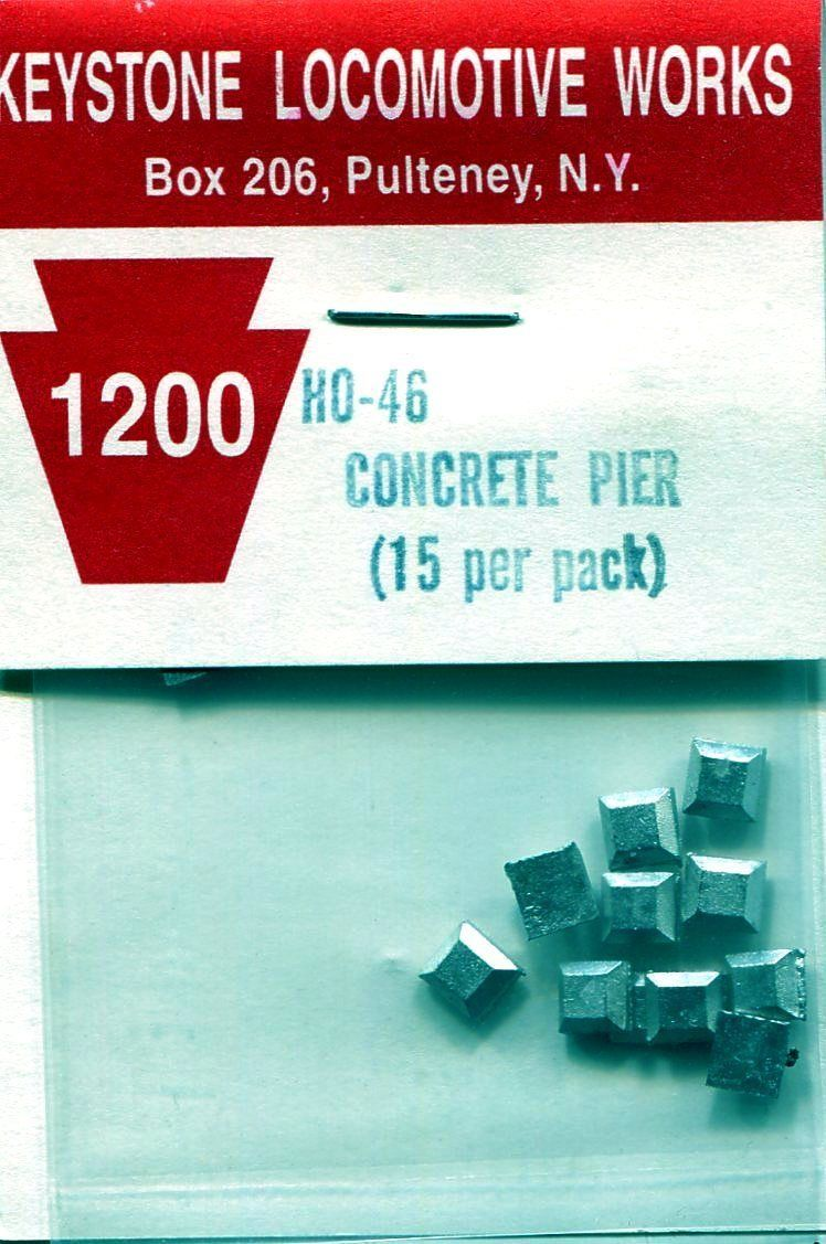 "Ho Concrete Pier 1/8"" x 1/8"" (15 per Pack), Keystone Locomotive Works Item Number KEY46"