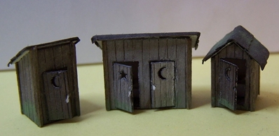 Ho 3 Outhouses 1 Dbl Door 2 Sg, RSLaserKits Item Number RSL2010